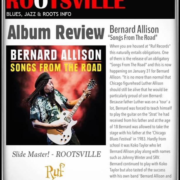 """""""Slide Master!"""" - Rootsville reviews Bernard Allison's new album (CD/DVD) """"SONGS FROM THE ROAD""""!"""