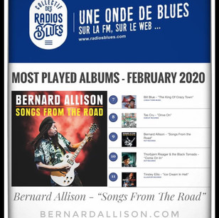 """We are happy to announce: Bernard Allison's new album """"Songs From The Road"""" is on the 🇫🇷 French Radio: Collectif des Radios Blues """"Most Played Albums for February 2020!"""