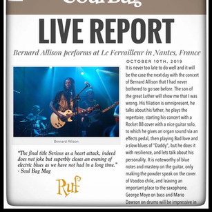 """""""...electric blues as we have not had in a long time."""" - Soul Bag Mag reviews Bernard Allison's new album SONGS FROM THE ROAD!"""