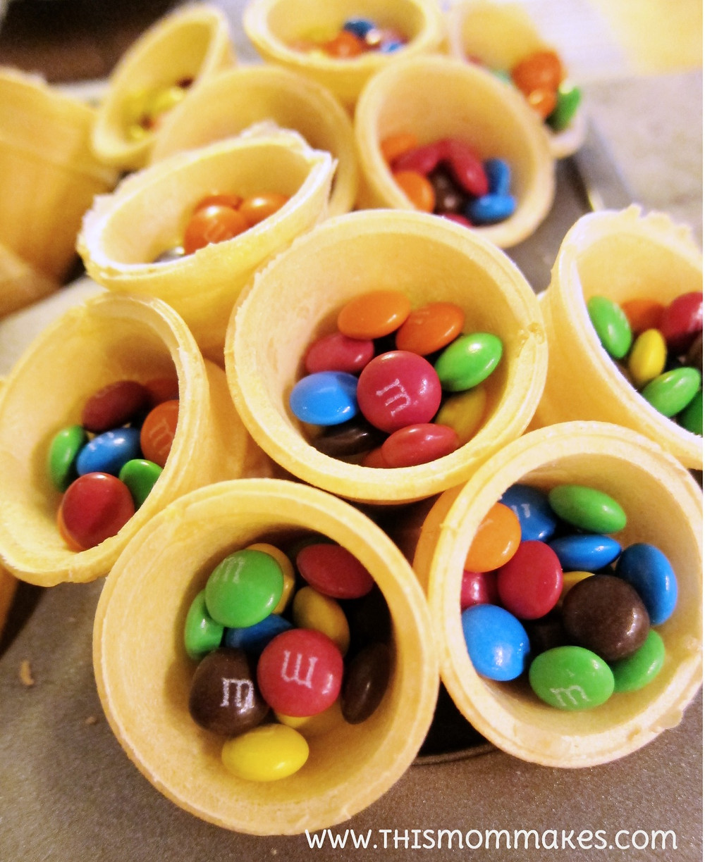 m&m filled cones for construction themed birthday party