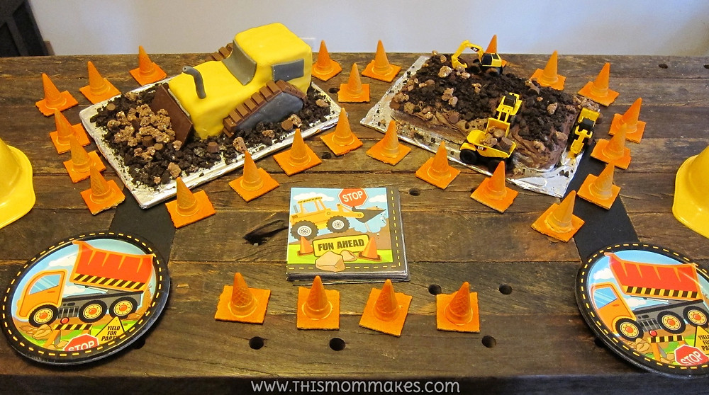 Construction themed birthday cakes and cones.