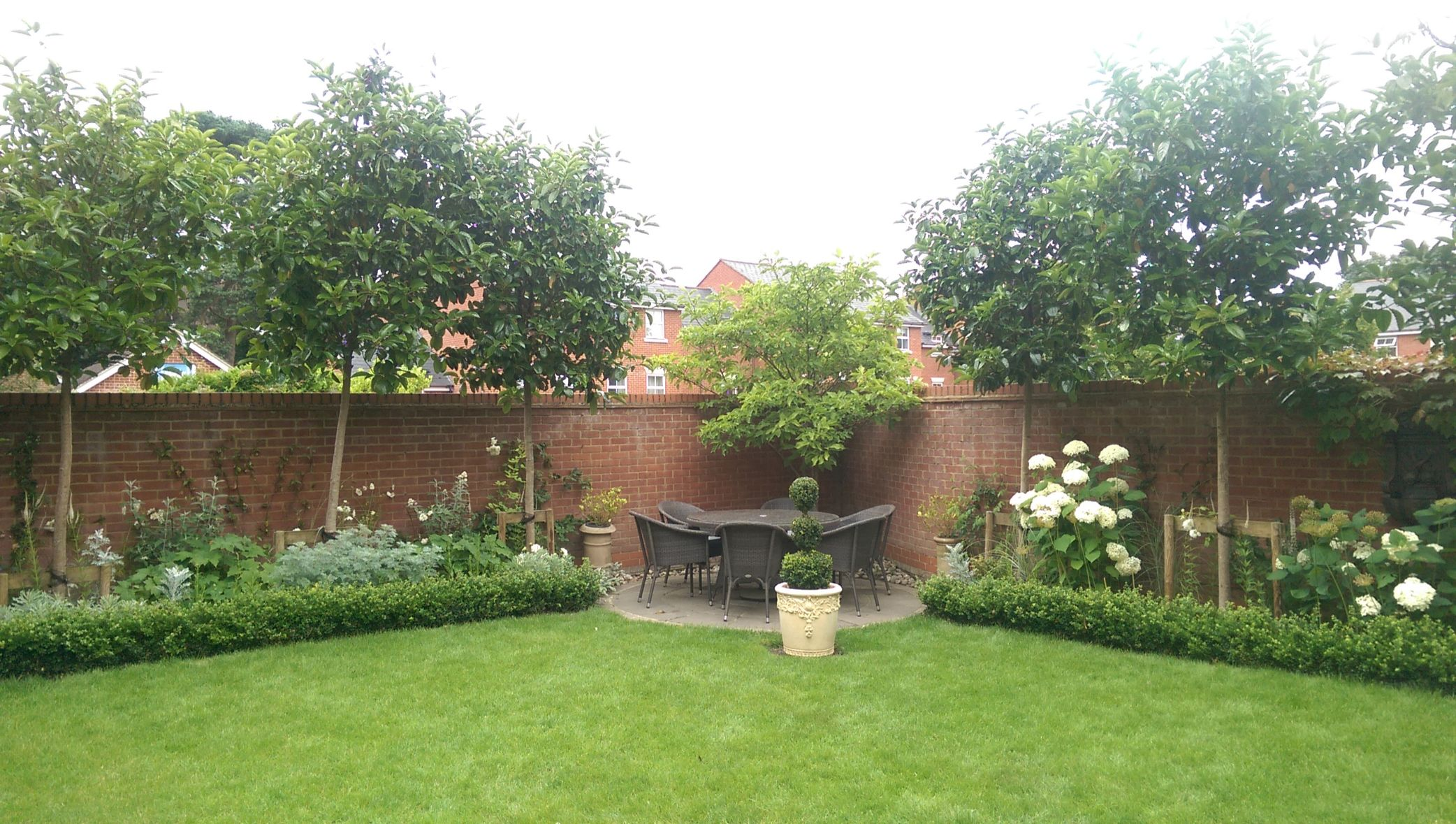 Pleached trees and formal planting