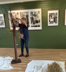 Pamela Horsley setting up