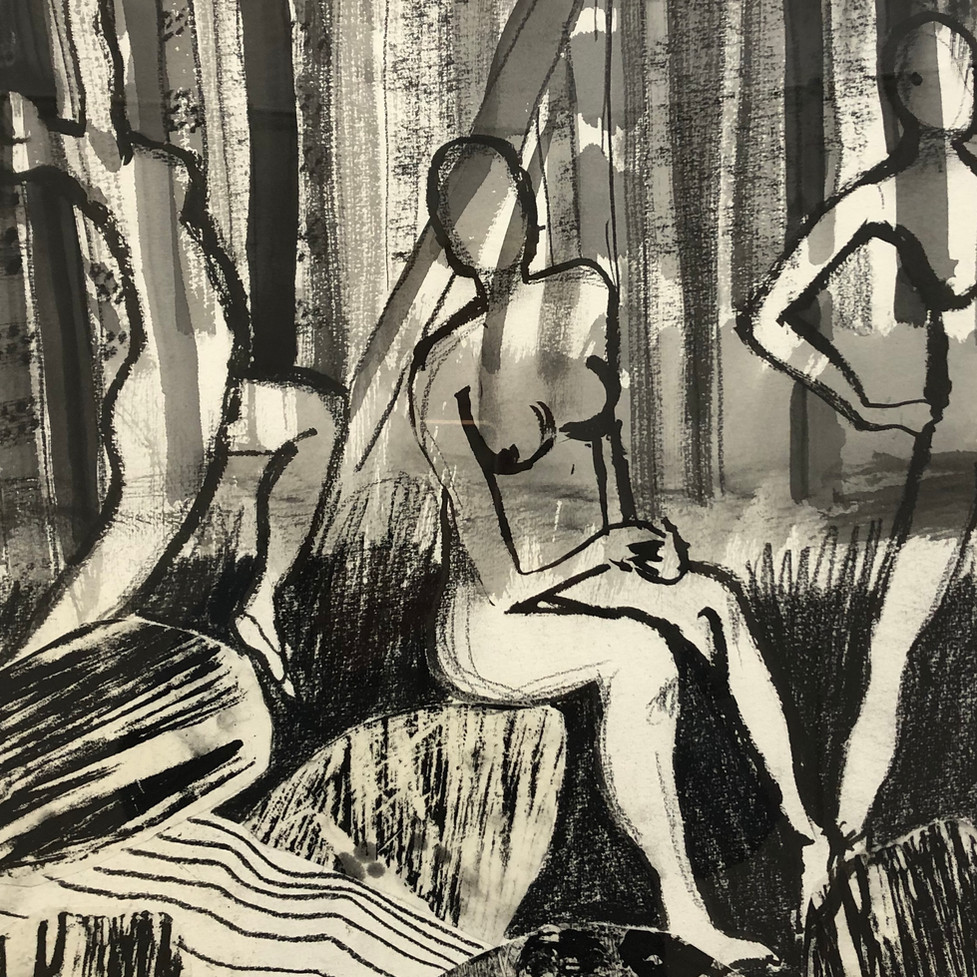 A Dip in the Creek - ink drawings with m