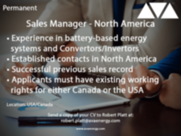 Sales Manager job vacancy based in north america