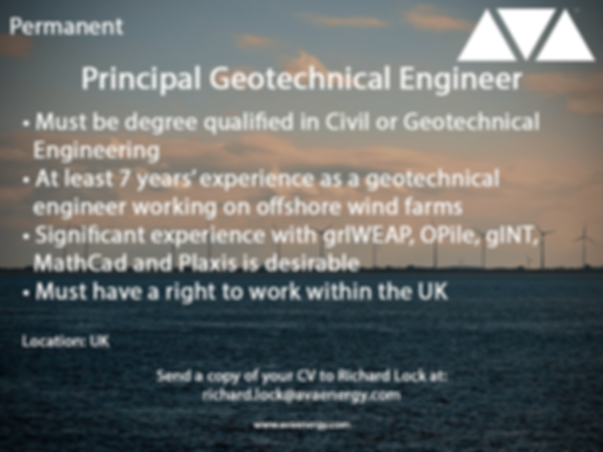 Principal geotechnical engineer offshore wind job vacancy based in the UK