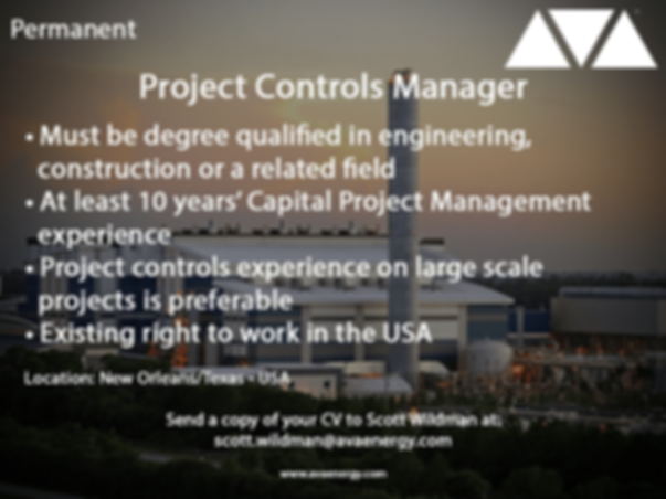 Project Controls Manager power generation job vacancy based in the USA