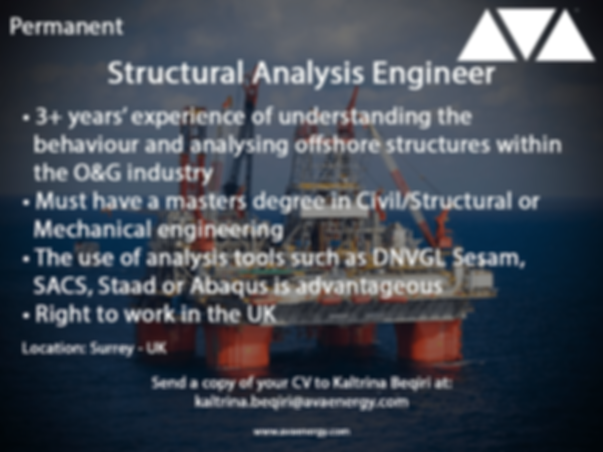 Structural Analysis Engineer oil and gas job based in surrey, UK