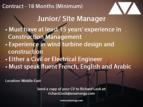Site manager wind turbine jobs based in th middle-East