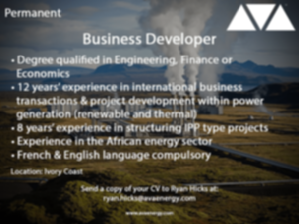 Business Developer power generation job vacancy based in the Ivory Coast