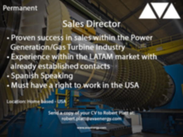 Sales Director Gas Turbines job vacancy based in the usa