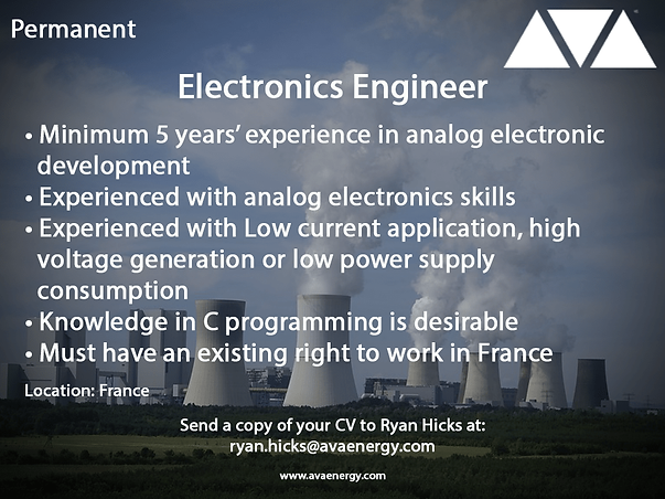 Electronics Engineer nuclear job based in France