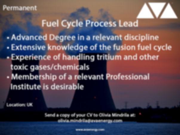 Fuel Cycle Process Lead nuclear job based in the UK