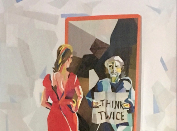 'Think Twice;' collage created from Big Issue magazines to raise awareness of homelessness