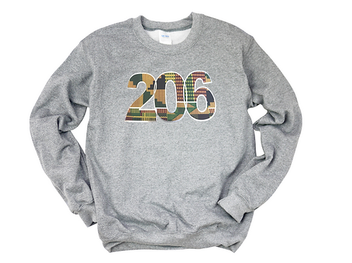 """206"" Kente Crewneck Sweatshirt"
