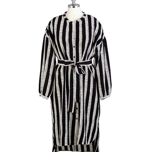 Dubgee Striped Belted Shirtdress