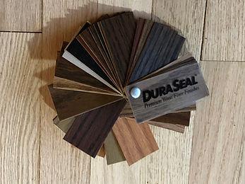 DuraSeal stain samples on oak floorng. Jay's Hardwood Floors Inc. Wheaton, Illinois