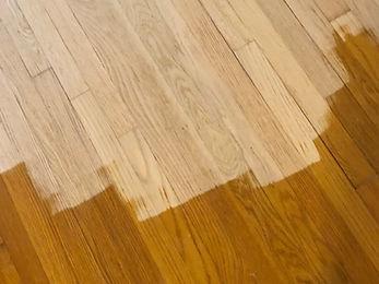 First coating of stain on oak floors. Jay's Hardwood Floors Inc. Wheaton, Illinois