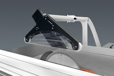 Overhead saw guard with integrated tube for aspiration.