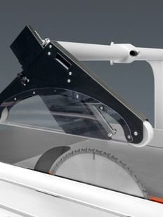 Overhead saw guard with integrated tube for aspiration