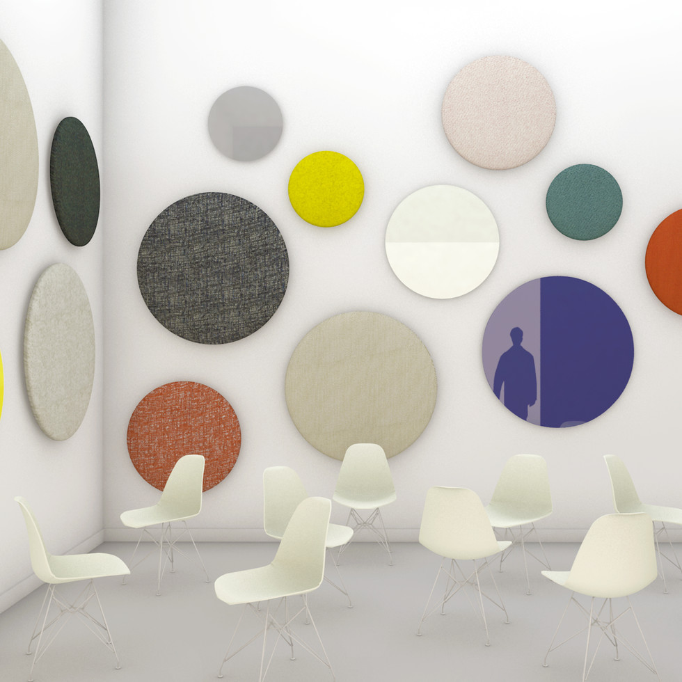 Space Buttons / glass & acoustic panels