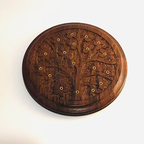 Tree of Life Carved Wood Stick Burner