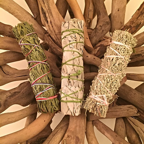 Cedar, White & Blue Sage - Pack of 3