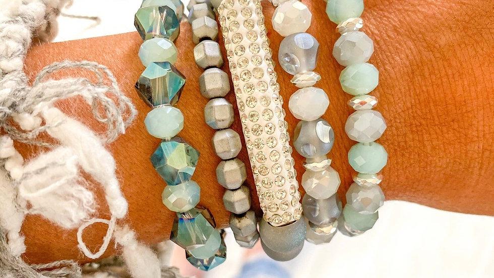 Oasis Mint Turquoise Rhinestone Bracelet Stack
