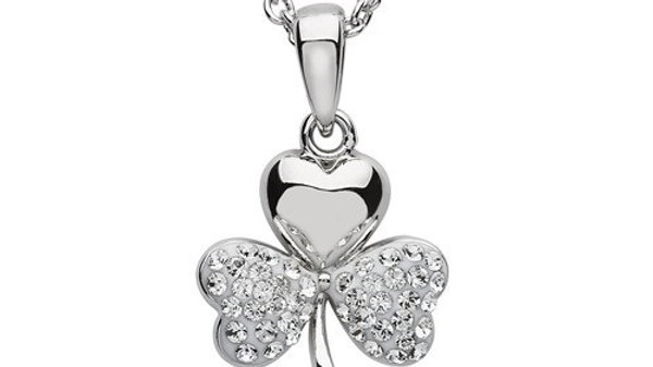 ShanOre Platinum Plated Shamrock Pendant With Clear Swarovski Crystals On Two Le