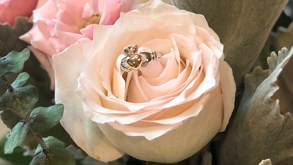 Claddagh Sterling Silver Ring with Real 10K Gold Heart