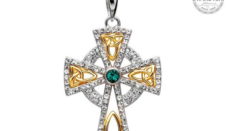 Trinity Gold Plated Cross Embellished with Swarovski crystals