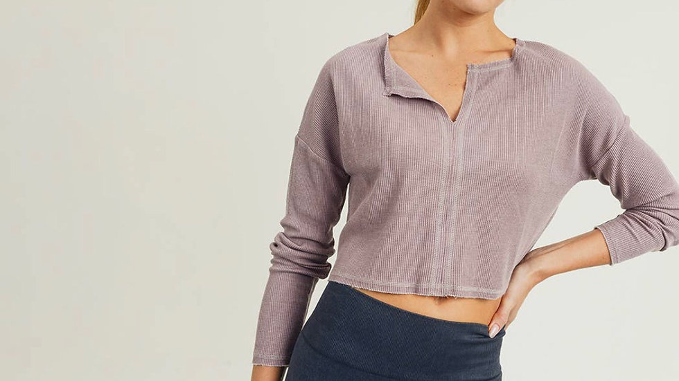 Deep Notch Collar Crop Pullover