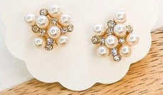 Poppin'  CZ  Pearl Cluster Studs