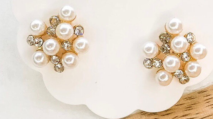 Bubbly CZ Pearl Cluster Earring Studs