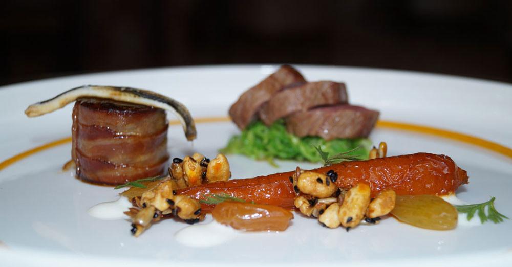 Sternerestaurant England | Lammfilet | Lammrücken | Sardine | glasierte Karotte