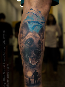 In Memory of Best Companion - Dog Portrait Tattoo
