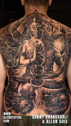 Sunny Bhanushali Shiva Tattoos on back