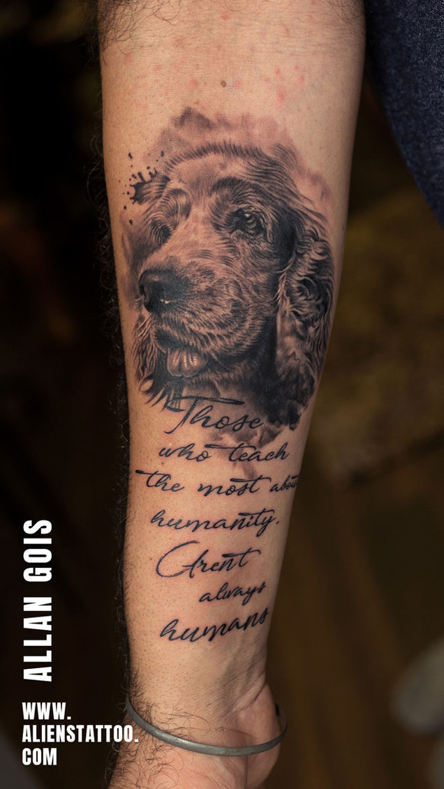 Pet Portrait With Quote - Memorial Tattoo For Beloved Dog