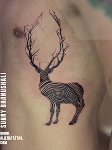 Line Art Deer Tattoo | Aliens Tattoo