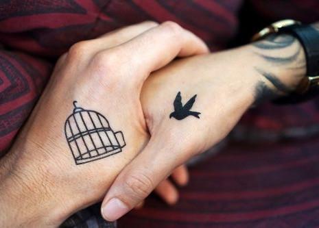 Cage Bird Couple Tattoo