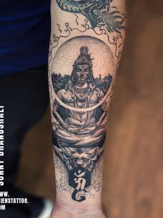 Shiva Tattoo As DotWork
