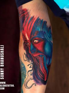 Shiva Tattoo As Goddess Kali Colored