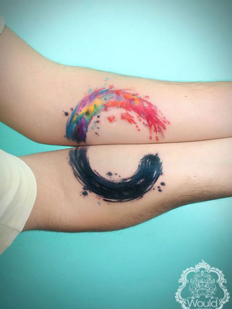 Enso Circle Couple Tattoo