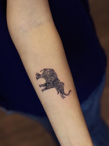 Finger Print Elephant Couple Tattoo