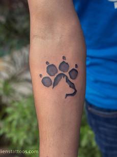 Paw Print Tattoo - Double Exposure Dog Silhouette