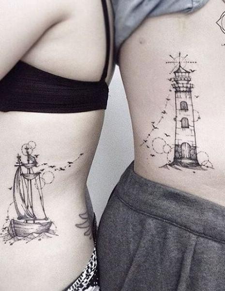 Lighthouse Ship Couple Tattoo | Marraied Couple Tattoo