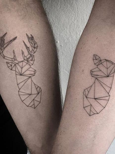 geometric-stag-couple-tattoo