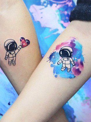 Space Astranaut Watercolor Couple Tattoo