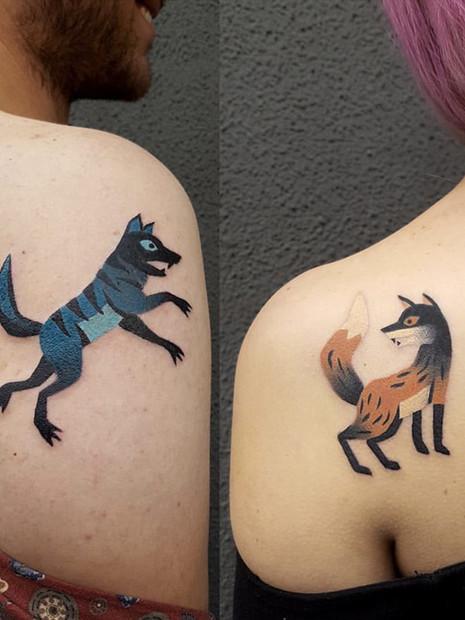 abstract-animal-couple-tattoos