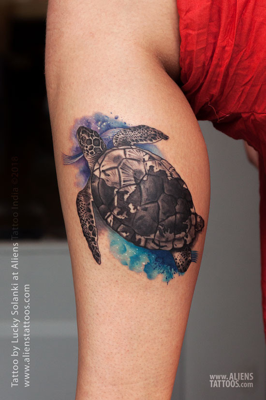 Turtle Watercolour Tattoo By Lucky Solanki At Aliens Tattoo